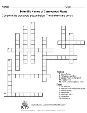 Carnivorous Plants Crossword Puzzle