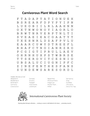 Carnivorous Plants Word Search